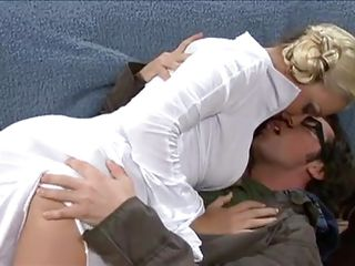 She is hot, blonde and sexy and the guy with glasses must be thinking that Christmas has come early. As she enters, she does not take much time in taking his cock in her mouth to give him a blowjob. man is not slow in returning the favor as he fingers and licks her pussy as a prelude to fuck her.