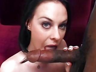 Pale tight ass hottie gets big black choad up her shaved minge