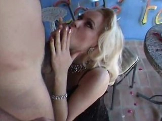 Hot blonde in sexy stockings railed