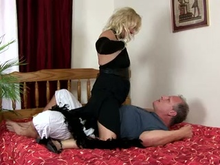 Horny granny sara lynn takes care of old cock